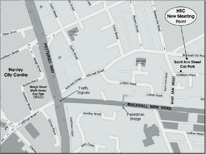 Map showing the location of St Ann Street in Hanley.